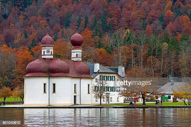 Sankt Bartholoma / St Bartholomew's Church at lake Konigssee Berchtesgaden National Park Bavaria Germany
