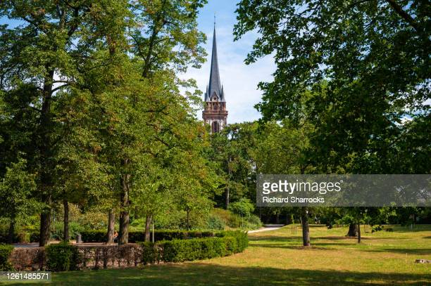 sankt elisabeth kirche (saint elizabeth church), darmstadt, germany - kirche stock pictures, royalty-free photos & images