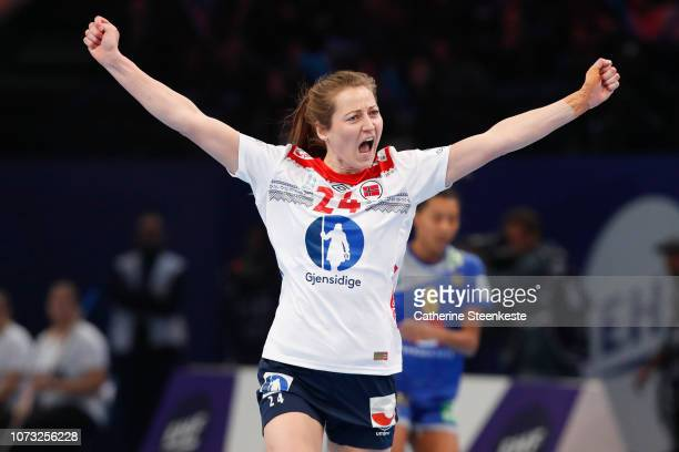 Sanna Charlotte Solberg of Norway celebrates during the EHF Euro match for the classification 56 between Sweden and Norway at AccorHotels Arena on...