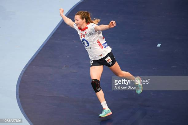 Sanna Charlotte Solberg of Norway celebrates during the EHF Euro match between Sweden and Norway on December 14 2018 in Paris France