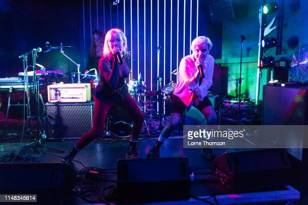 Sanna Kalla and Rebecka Digervall of The Magnettes perform at Door 77 on May 10, 2019 in Brighton, England.