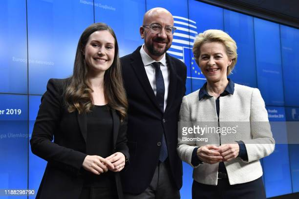 Sanna Marin Finland's prime minister left Charles Michel president of the European Union center and Ursula von der Leyen president of the European...