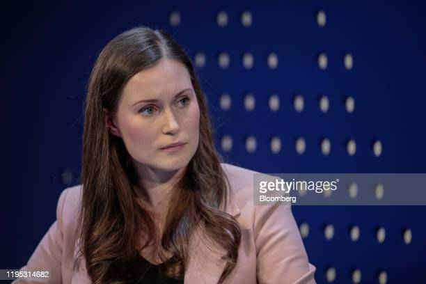 Sanna Marin, Finland's prime minister, pauses during a panel session on day two of the World Economic Forum in Davos, Switzerland, on Wednesday, Jan....