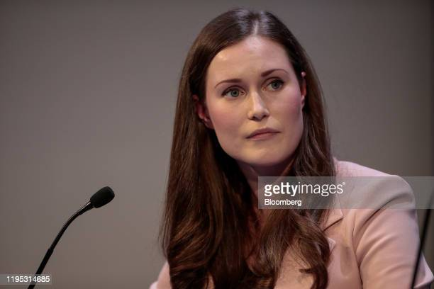 Sanna Marin Finland's prime minister pauses during a panel session on day two of the World Economic Forum in Davos Switzerland on Wednesday Jan 22...