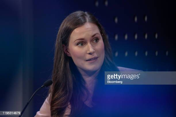 Sanna Marin Finland's prime minister reacts during a panel session on day two of the World Economic Forum in Davos Switzerland on Wednesday Jan 22...