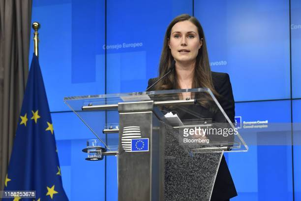 Sanna Marin Finland's prime minister speaks during a news conference at the European leaders summit in Brussels Belgium on Friday Dec 13 2019 After...