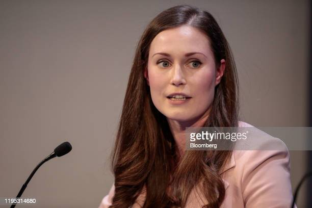 Sanna Marin Finland's prime minister speaks during a panel session on day two of the World Economic Forum in Davos Switzerland on Wednesday Jan 22...