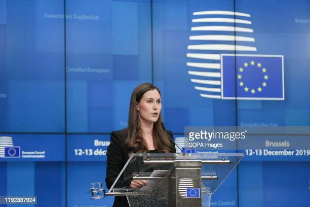 Sanna Marin Finnish Prime Minister speaks at a press conference after the European Council EU Leaders Summit meeting in Brussels