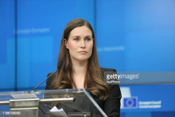 Sanna Marin the Prime Minister of Finland at the European Council Euro Summit EU leaders meeting during a press conference with President of European...