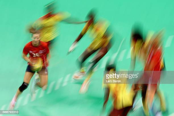 Sanna Solberg of Norway runs with the ball during the Womens Preliminary Group A match between Norway and Angola at Future Arena on August 10, 2016...