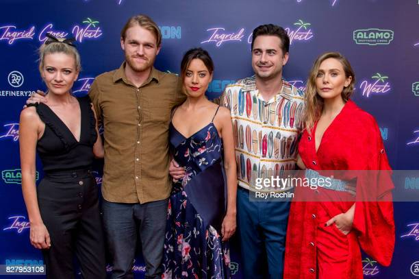 Sanne Hamers Wyatt Russell Aubrey Plaza Matt Spicer and Elizabeth Olsen attend The New York premiere of Ingrid Goes West hosted by Neon at Alamo...