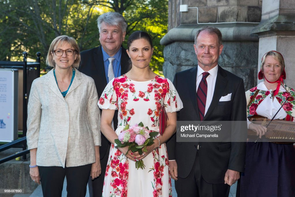 Sanne Houby-Nielsen, John Brattmyhr, Crown Princess Victoria of Sweden, and Niclas Forsman pose for a picture at the Nordic Museum and Skansen's Friends annual meeting in commemoration of their 100th anniversary at the Nordic Museum on May 14, 2018 in Stockholm, Sweden.