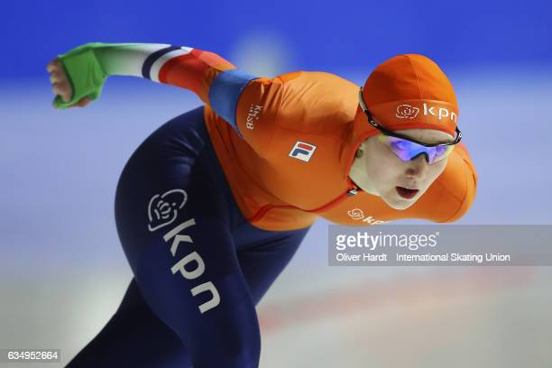 Sanne In t Hof of Netherlands competes in the Ladies Jun 3000m race during the ISU Junior World Cup Speed Skating Day 1 at the Gunda Niemann...