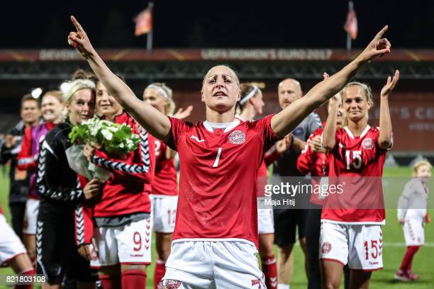 Sanne Troelsgaard and the team of Denmark celebrate after the Group A match between Norway and Denmark during the UEFA Women's Euro 2017 at Stadion...