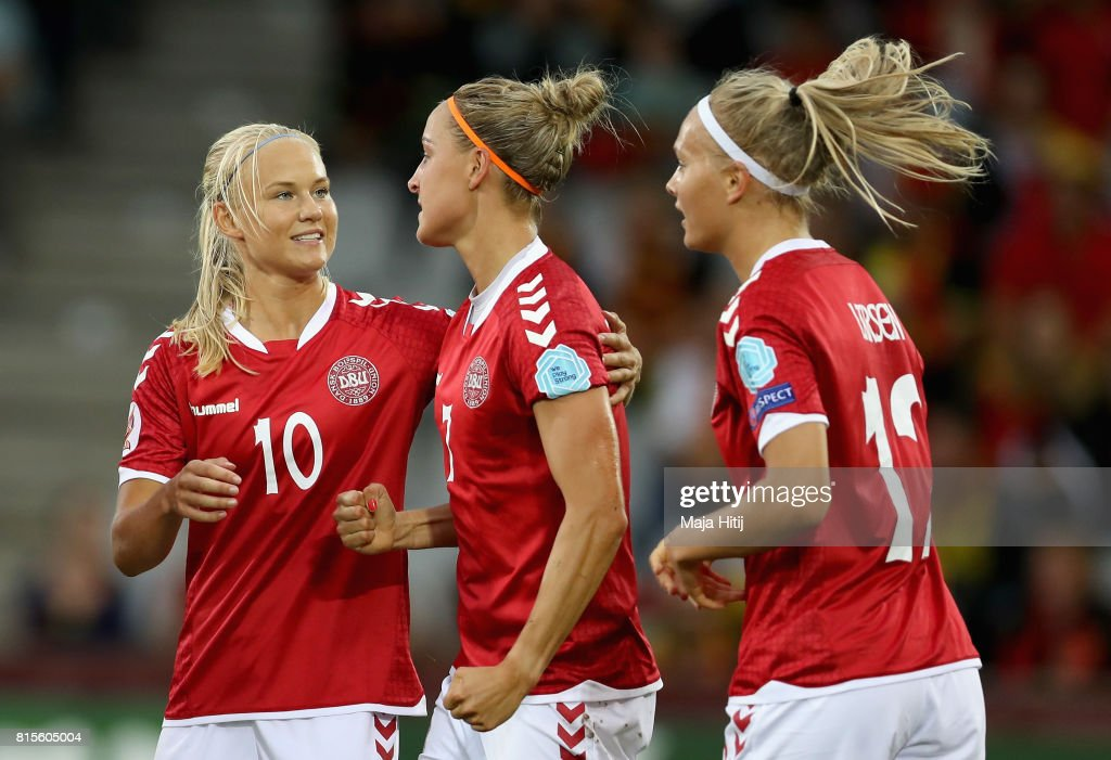 Sanne Troelsgaard Nielsen of Denmark (C) celebrates scoring her sides first goal with Pernille Harder of Denmark(L) during the Group A match between Denmark and Belgium during the UEFA Women's Euro 2017 on July 16, 2017 in Doetinchem, Netherlands.