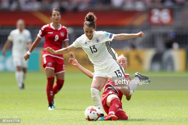 Sanne Troelsgaard Nielsen of Denmark fouls Sara Dabritz of Germany during the UEFA Women's Euro 2017 Quarter Final match between Germany and Denmark...