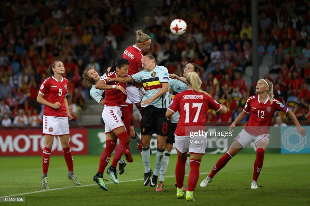 Sanne Troelsgaard Nielsen of Denmark scores her sides first goal during the Group A match between Denmark and Belgium during the UEFA Women's Euro 2017 on July 16, 2017 in Doetinchem, Netherlands.