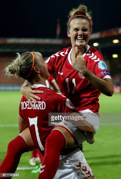 Sanne Troelsgaard of Denmark celebrate with team mate Katrine Veje after the Group A match between Norway and Denmark during the UEFA Women's Euro...