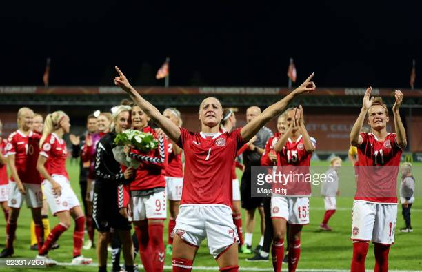 Sanne Troelsgaard of Denmark celebrates after the Group A match between Norway and Denmark during the UEFA Women's Euro 2017 at Stadion De...