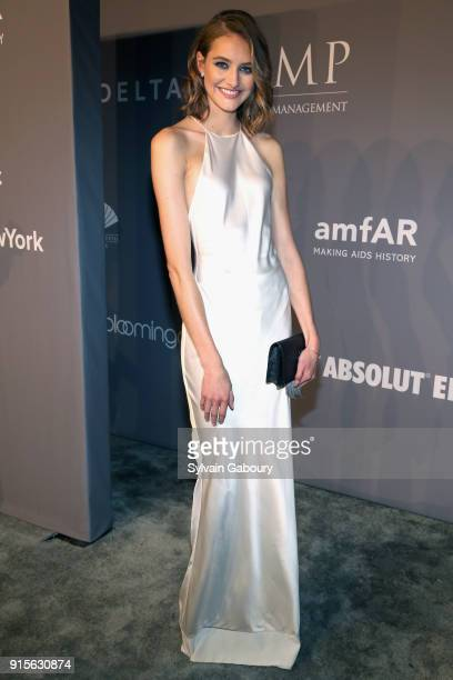 Sanne Vloet attends 2018 amfAR Gala New York Arrivals at Cipriani Wall Street on February 7 2018 in New York City