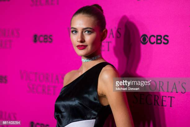 Sanne Vloet attends the 2017 Victoria's Secret Fashion Show viewing party pink carpet at Spring Studios on November 28 2017 in New York City