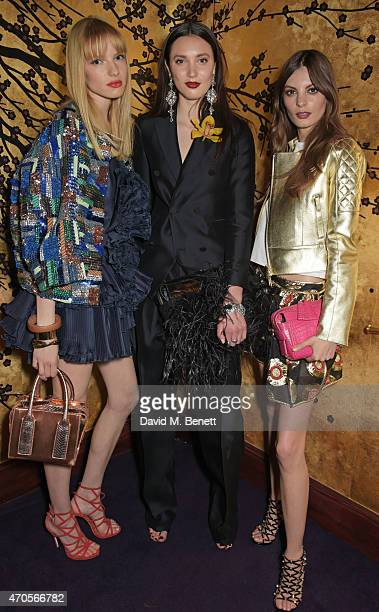 Sanne Vloet Matilda Lowther and Audrey Nurit attend the DSQUARED2 dinner in celebration of their new London Flagship opening at Loulou's on April 21...