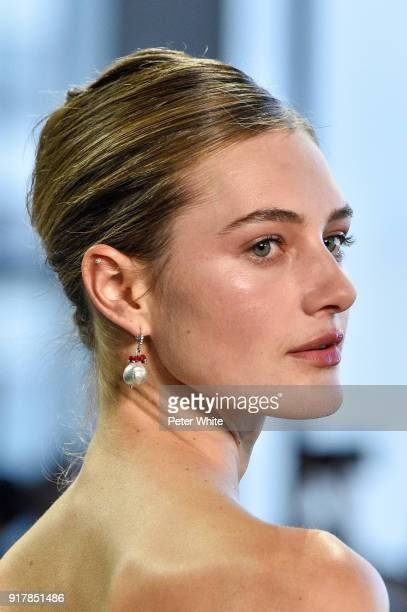 Sanne Vloet walks the runway at Badgley Mischka fashion show during New York Fashion Week at Gallery I at Spring Studios on February 13 2018 in New...