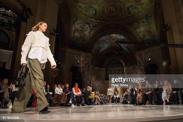 Sanne Vloet walks the runway at Oscar De La Renta fashion show during February 2018 New York Fashion Week at The Cunard Building on February 12 2018...