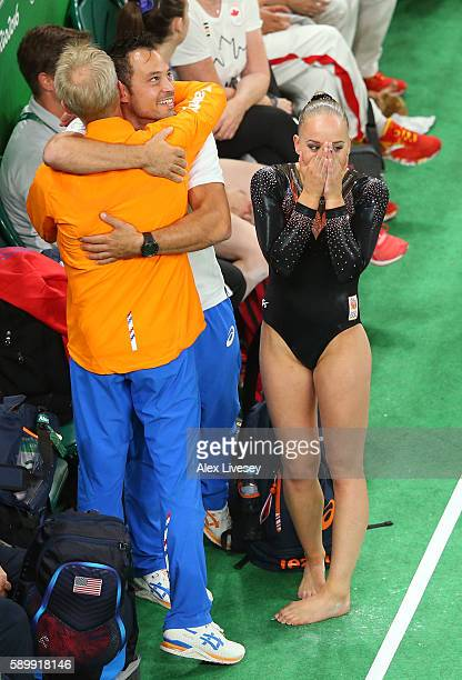 Sanne Wevers of the Netherlands celebrates her score after competing in the Balance Beam Final on day 10 of the Rio 2016 Olympic Games at Rio Olympic...