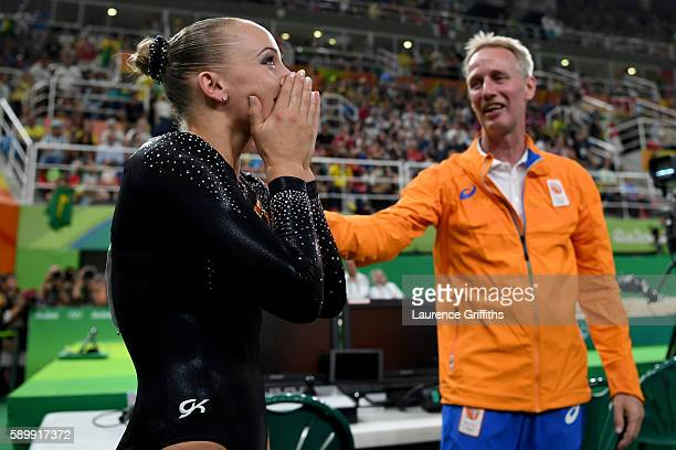 Sanne Wevers of the Netherlands celebrates winning the gold medal after the Balance Beam final on day 10 of the Rio 2016 Olympic Games at Rio Olympic...