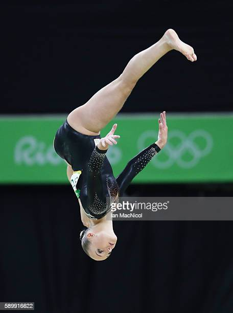 Sanne Wevers of the Netherlands on her way to winning Gold in the Final of The Beam at Rio Olympic Arena on August 15 2016 in Rio de Janeiro Brazil