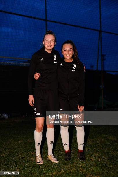 Sanni Maija Franssi and Katie Zelem during a Juventus Women training session on January 10 2018 in Turin Italy