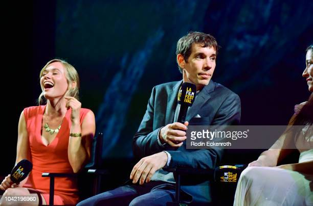 Sanni McCandless Alex Honnold and Chai Vasarhelyi speak onstage at the 2018 LA Film Festival Gala Screening Of 'Free Solo' at Wallis Annenberg Center...