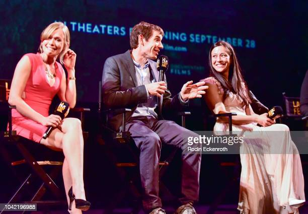 Sanni McCandless Alex Honnold and Chai Vasarhelyi speak onstage at the 2018 LA Film Festival Gala Screening Of Free Solo at Wallis Annenberg Center...