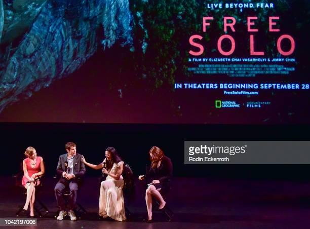Sanni McCandless Alex Honnold Chai Vasarhelyi and Jennifer Chochis speak onstage at the 2018 LA Film Festival Gala Screening Of Free Solo at Wallis...