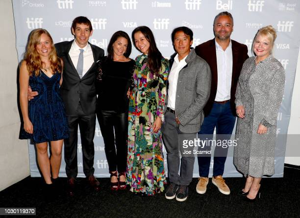 Sanni McCandless Alex Honnold Courteney Monroe Elizabeth Chai Vasarhelyi Jimmy Chin Evan Hayes and Shannon Dill at the 2018 Toronto Film Festival...