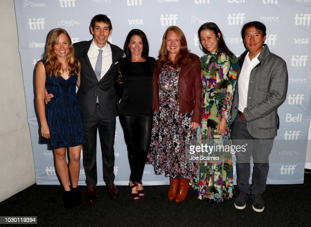 Sanni McCandless Alex Honnold Courteney Monroe Jill Cress Elizabeth Chai Vasarhelyi and Jimmy Chin at the 2018 Toronto Film Festival Premiere of...