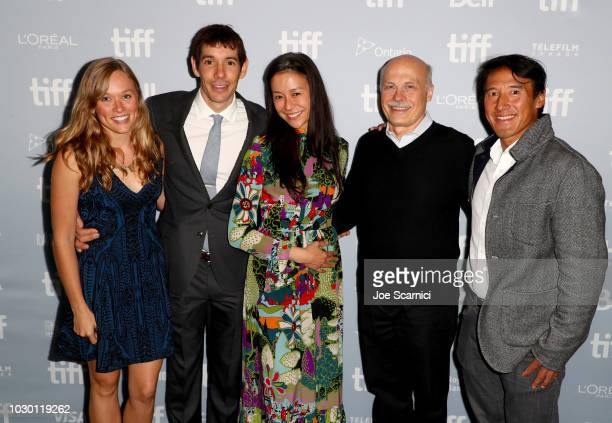 Sanni McCandless Alex Honnold Elizabeth Chai Vasarhelyi Bob Eisenhardt and Jimmy Chin at the 2018 Toronto Film Festival Premiere of National...