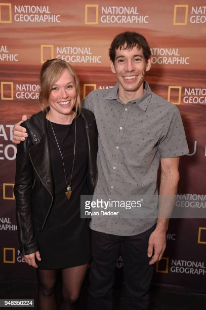Sanni McCandless and 2018 National Geographic Adventurer of the Year Alex Honnold of 'Free Solo' attends National Geographic's FURTHER Front...