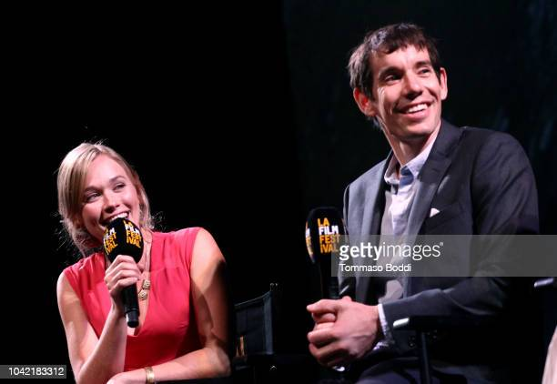 Sanni McCandless and Alex Honnold speak onstage at the LA Film Festival gala screening of National Geographic Documentary Films Free Solo at the...