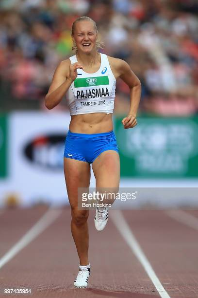 Sanni Pajasmaa of Finland in action during heat 2 of the women's heptathlon 200m on day three of The IAAF World U20 Championships on July 12 2018 in...