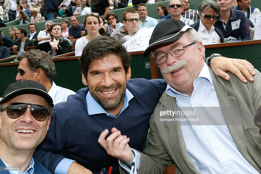 CEO Sanofi Christopher Viehbacher, Founder of Atlantic Dinners Felix Marquardt and CEO Total Christophe de Margerie attend Roland Garros Tennis French Open 2013 - Day 7 on June 1, 2013 in Paris, France.