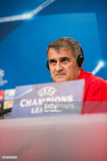 Sanol Guenes head coach of Besiktas Istanbul talks to the media during a press conference ahead the UEFA Campions League match against FC Bayern...