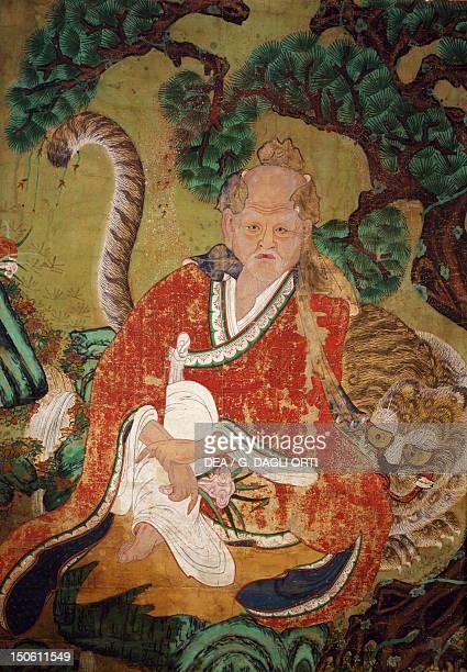 Sansin, the Spirit of the Mountain, colours on silk. Korean civilization, Choson period, 18th century.