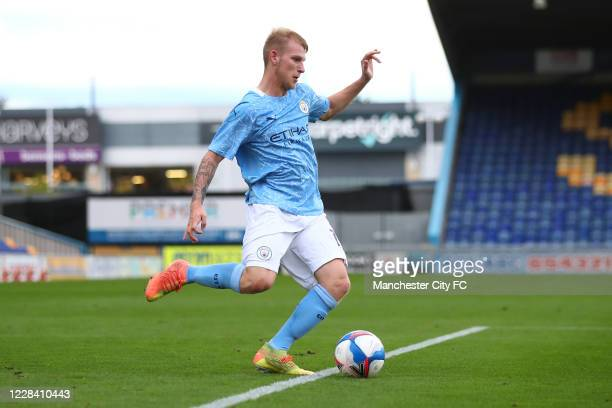 Sansom Robinson of Manchester City during the EFL Trophy match between Mansfield Town and Manchester City U21 at One Call Stadium on September 8,...
