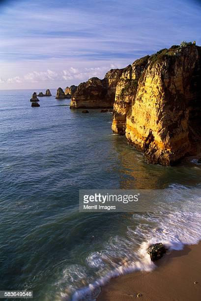 Sanstone Cliffs at Praia de Dona Ana Beach in Portugal