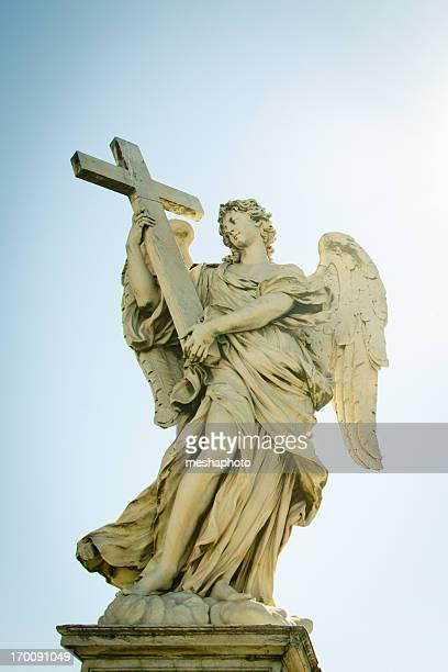 Sant Angelo bridge angels with cross. Rome, Italy