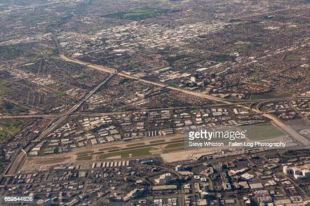 santa ana (john wayne) airport aerial view - john wayne airport stock pictures, royalty-free photos & images