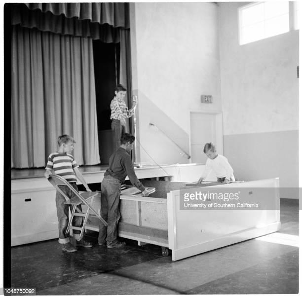 Santa Ana Schools , 11 March 1952. Glenn L Martin School;Clifton Stepp -- 12 years;Miss Nora Reid;Miss Bernice Boyd;Mrs Katherine Duke.;Caption slip...