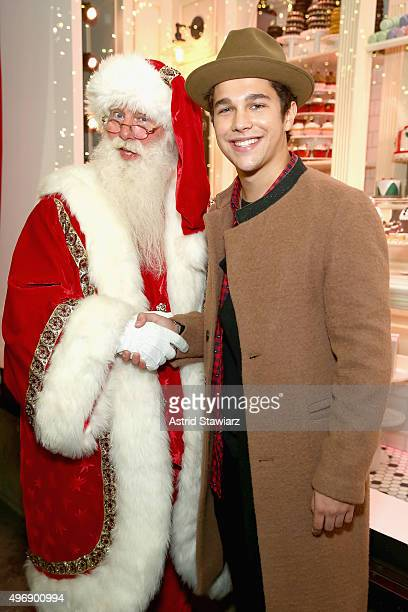Santa and Austin Mahone attend the Lord Taylor NYC 2015 Holiday Windows Unveiling With Austin Mahone on November 12 2015 in New York City